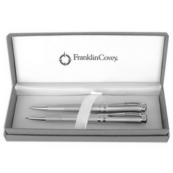 Набор FRANKLIN COVEY Freemont Satin/Chrome:ручка шариковая и карандаш, серебристый